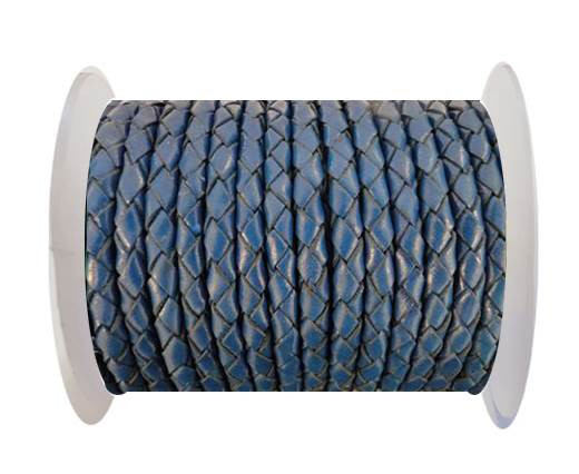 Buy Round Braided Leather Cord SE/B/537-Denim - 3mm at wholesale prices