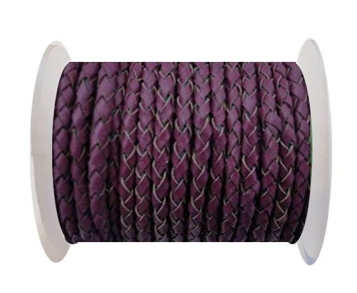 Buy Round Braided Leather Cord SE/B/543-Plum - 3mm at wholesale prices