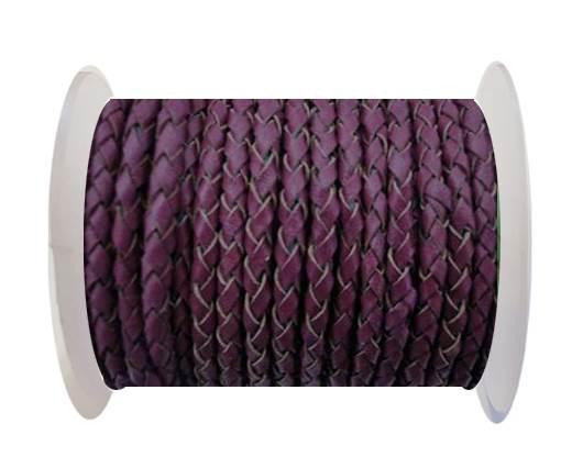 Round Braided Leather Cord SE/B/543-Plum - 3mm