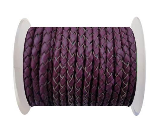 Round Braided Leather Cord SE/B/543-Plum - 6mm