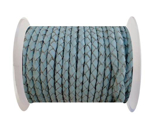 Buy Round Braided Leather Cord SE/B/545-Baby blue - 3mm at wholesale prices
