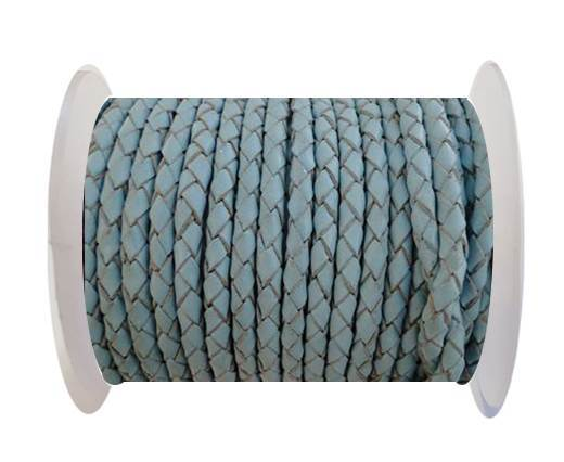 Round Braided Leather Cord SE/B/545-Baby blue-6mm