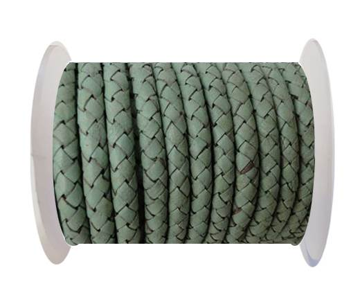 Round Braided Leather Cord SE/B/616-Pastel Mint - 3mm