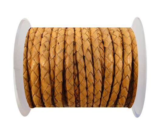 Buy Round Braided Leather Cord SE/B/712-Camel - 3mm at wholesale prices