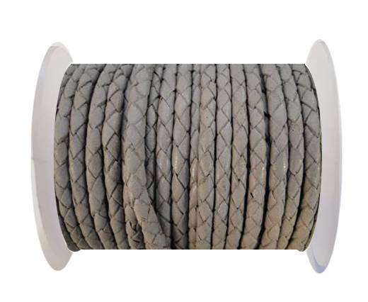 Round Braided Leather Cord SE/B/717-Light Grey - 3mm