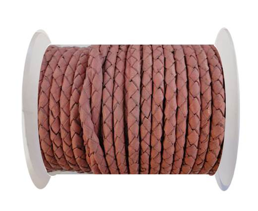 Round Braided Leather Cord SE/B/722-Rose - 3mm
