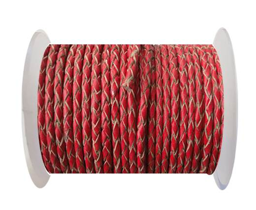 Buy Round Braided Leather Cord SE/B/06-Red-natural edges - 3mm at wholesale prices