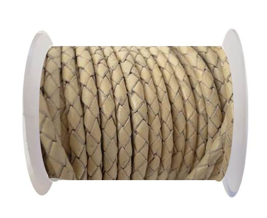 Buy Round Braided Leather Cord SE/B/727-Beige-3mm at wholesale prices