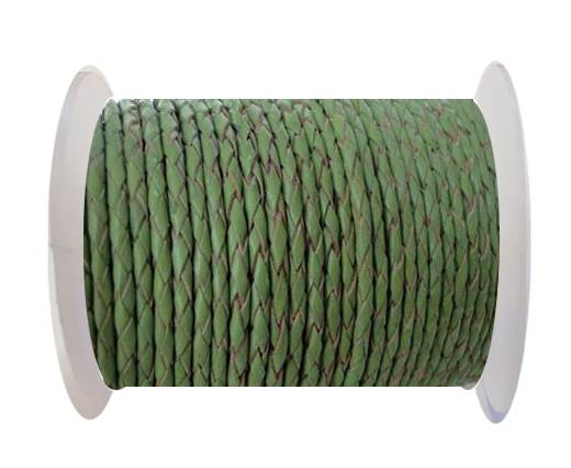 Round Braided Leather Cord SE/B/730-Green Tea - 5mm