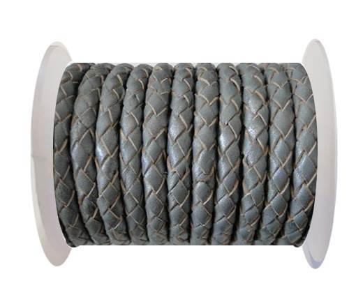 Buy Round Braided Leather Cord SE/B/Grey - 3mm at wholesale prices
