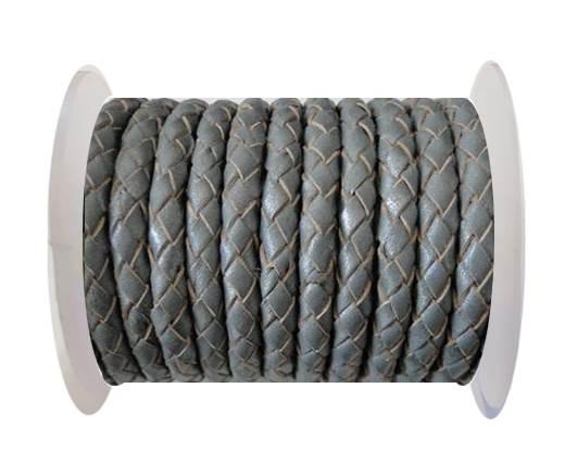 Round Braided Leather Cord SE/B/Grey - 3mm