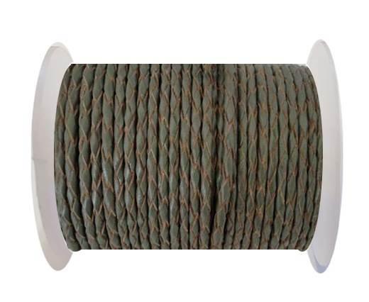 Round Braided Leather Cord SE/B/Khakhi-natural edges-6mm