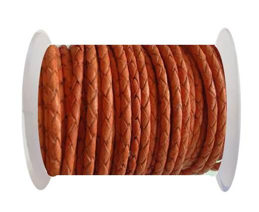 Round Braided Leather Cord SE/B/Neon Orange-6mm