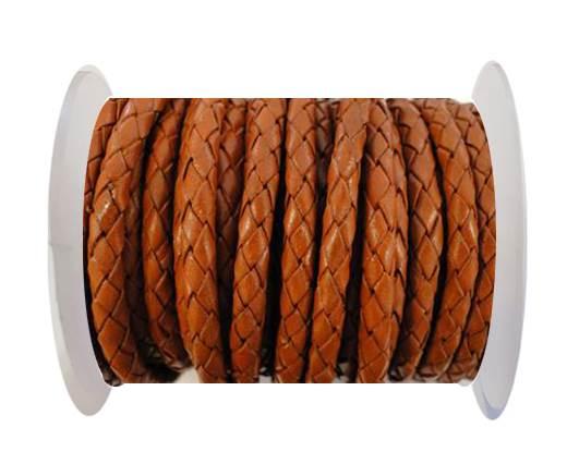Round Braided Leather Cord SE/B/Orange-3mm
