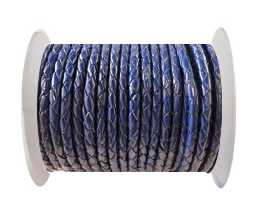 Round Braided Leather Cord SE/Dark Blue-6mm