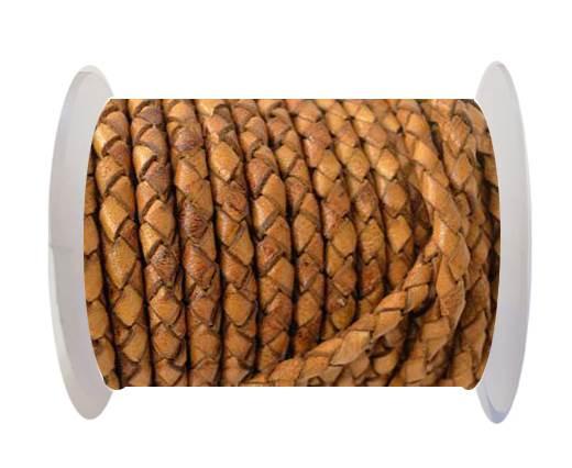 Round Braided Leather Cord SE/DB/02-Cinnamon - 6mm