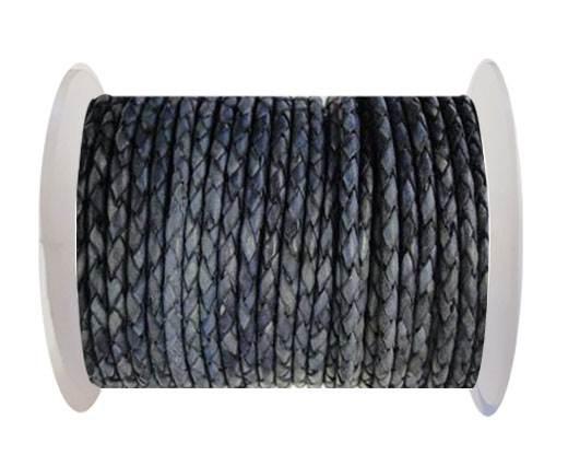 Round Braided Leather Cord SE/DB/13-Vintage Purple - 6mm
