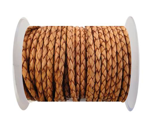 Round Braided Leather Cord SE/DB/16-Washed Red - 3mm
