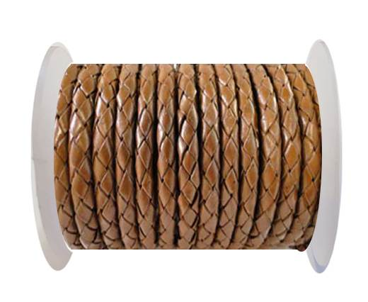 Round Braided Leather Cord SE/B/07-Medium Brown - 6mm
