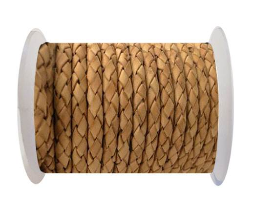 Round Braided Leather Cord SE/B/2000-Vintage Beige-6mm
