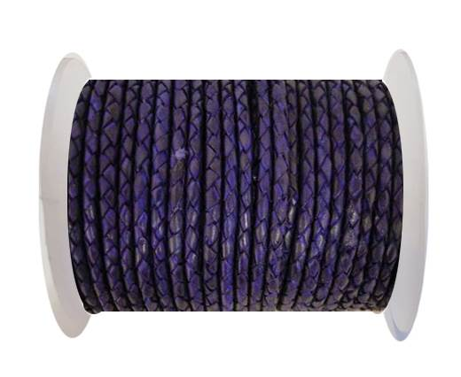 Buy Round Braided Leather Cord SE/DB/Violet-3mm at wholesale prices