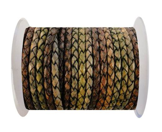 Round Braided Leather Cord SE/DM/01-Vintage Night Shades - 4mm