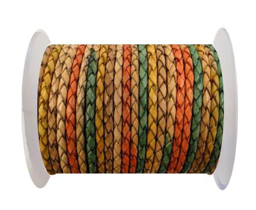 Round Braided Leather Cord SE/DM/02-Sunrise-6mm
