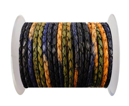 Buy Round Braided Leather Cord SE/DM/03-Night Shades - 3mm at wholesale prices