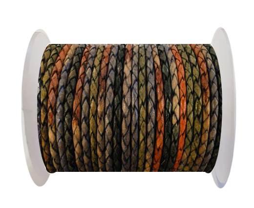 Round Braided Leather Cord SE/DM/04-Dark Shades - 3mm