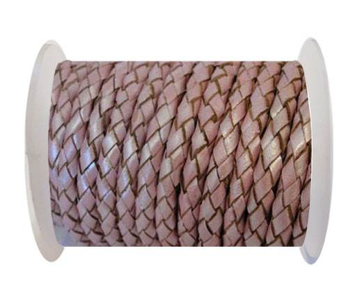 Round Braided Leather Cord SE/M/01/Metallic Pink - 3mm