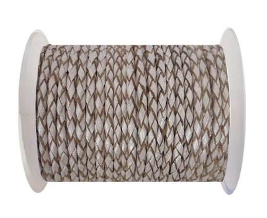 Round Braided Leather Cord SE/M/11-Metallic Salmon-3mm