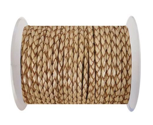 Round Braided Leather Cord SE/M/13-Metallic Sun-3mm