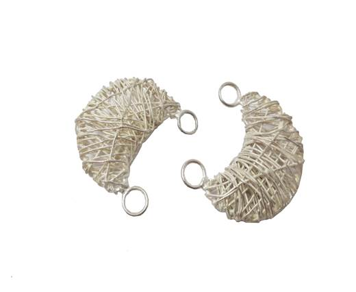 Silver plated Brush Beads - 8825