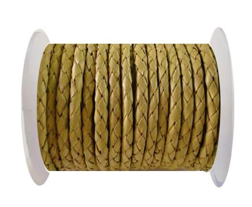 Round Braided Leather Cord SE/B/10-Lemon yellow - 6mm