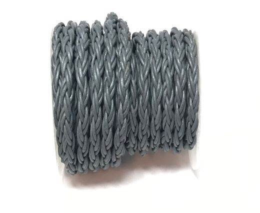 Round Bolo Twist Leather Cord-6mm- Grey