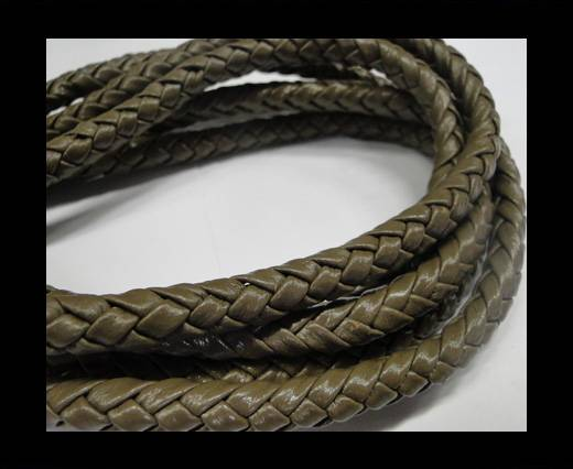 Fine Braided Nappa Leather Cords-8mm-Grey