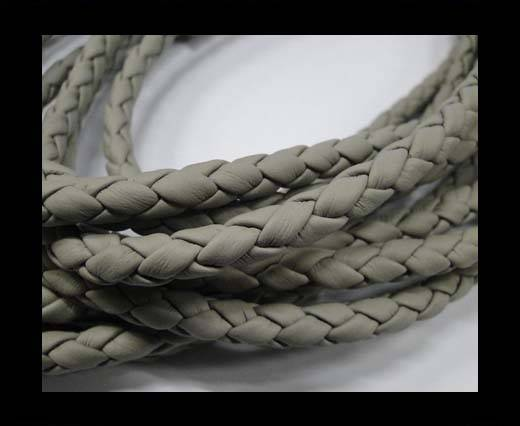 Fine Braided Nappa Leather Cords  - light grey-6mm