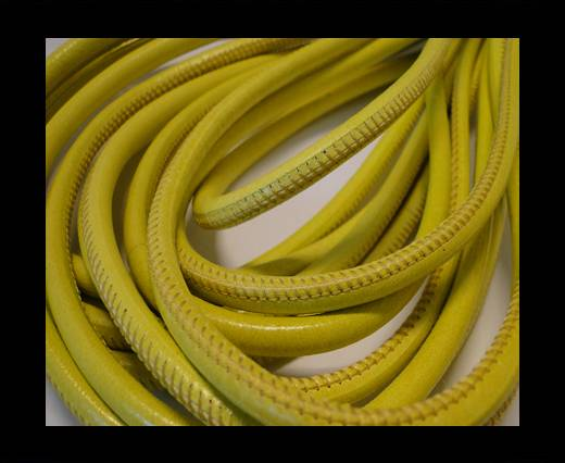 Round stitched nappa leather cord Shinny Yellow-6mm