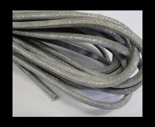 Round stitched nappa leather cord Silver-6mm