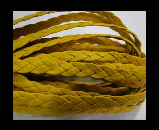 Flat Braided Nappa Leather Cords 6mm Yellow
