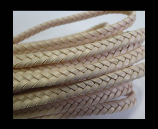 Flat Braided Nappa Leather Cords 6mm -light salmon