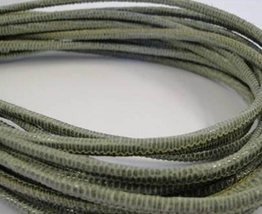 Round stitched nappa leather cord 2,5mm- lizard salvia + paillettes transparent