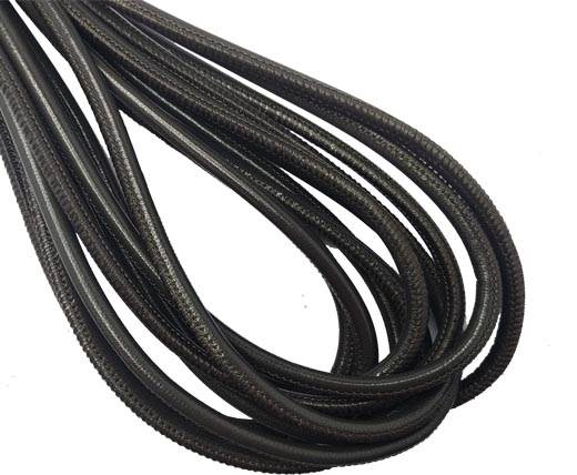 Round Stitched Nappa Leather Cord-4mm-Anthracite