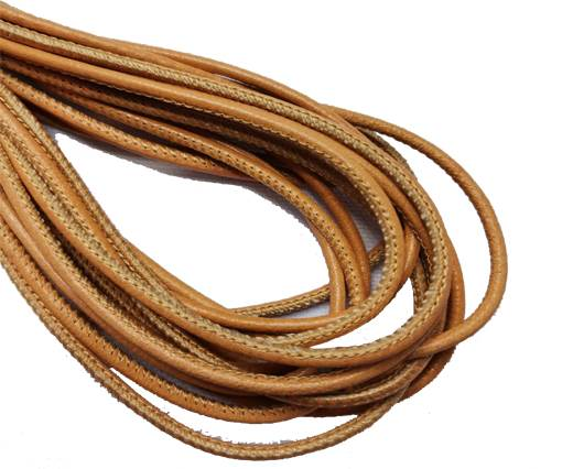 Round Stitched Leather Cord - 3mm - APRICOT