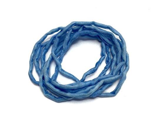 Real silk cords with inserts - 2mm - BABY BLUE