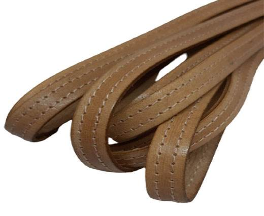 Italian Flat Leather 10mm-Double Stitched - beige_light_beige