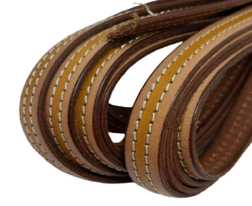 Italian Flat Leather 10mm-Double Stitched - beige_and_yellow
