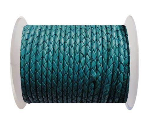 Round Braided Leather Cord SE/B/11-Bermuda Blue - 4mm