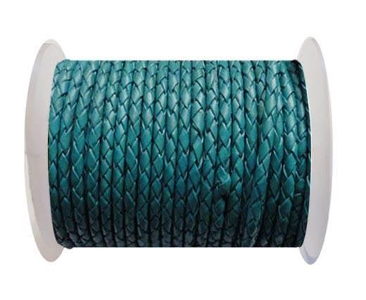 Round Braided Leather Cord SE/B/11-Bermuda Blue - 6mm