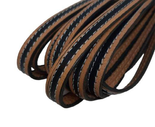 Italian Flat Leather 10mm-Double Stitched - bi_material_black